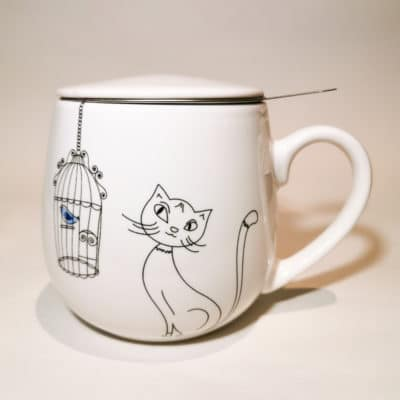 tisanière ronde chat