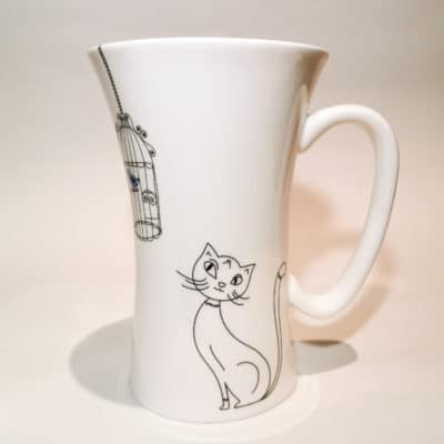 mug porcelaine chat