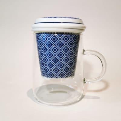 tisanière en verre filtre losange